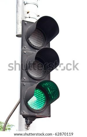 green road traffic light - stock photo