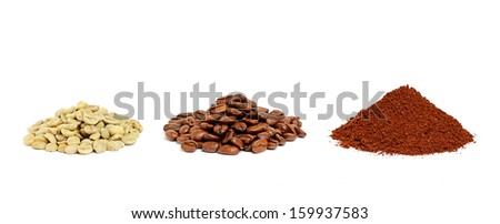 Green, roasted and ground coffee beans on a white background. - stock photo