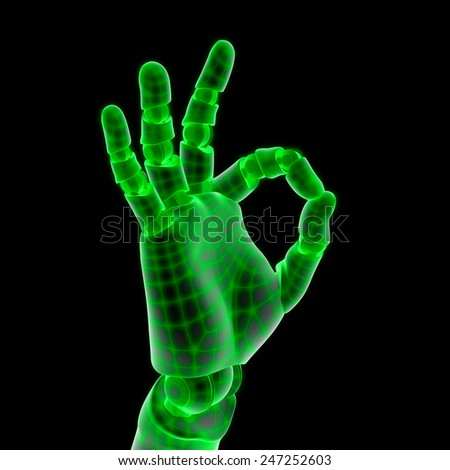 green robot hand on black background - stock photo