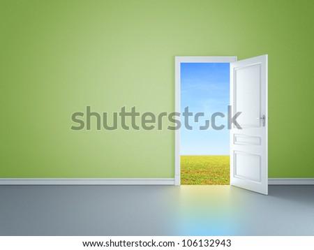 green room with an open door in field - stock photo