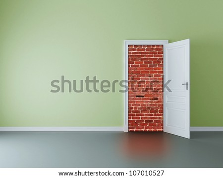 green room with opened door to brick wall - stock photo