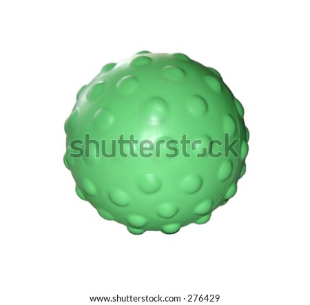 green rubber ball with bumps - stock photo