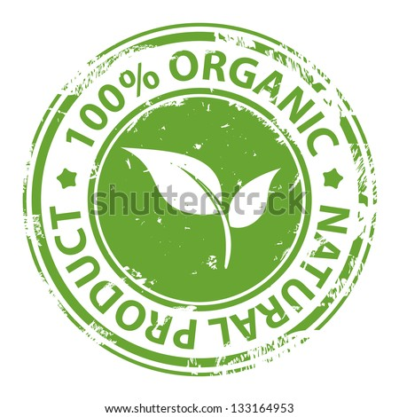 Green rubber stamp with text 100% Organic natural product isolated on white background - stock photo