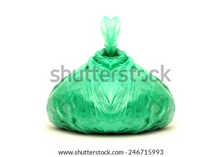 Green rubbish bag isolated on white - stock photo