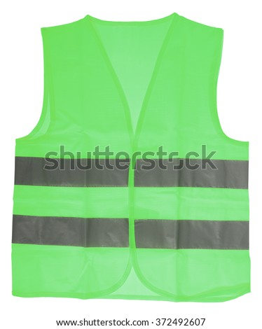 green Safety vest with reflective stripes isolated over a white background / Safety Vest - stock photo