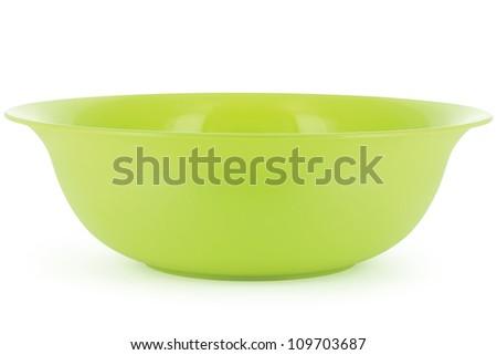 green salad bowl isolated on white background - stock photo