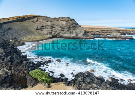 Green Sand Beach Big Island, Hawaii - stock photo