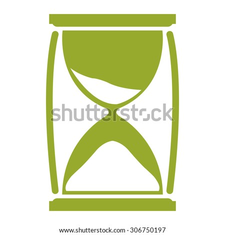 Green Sandglass Infographics Flat Icon, Sign Isolated on White Background - stock photo
