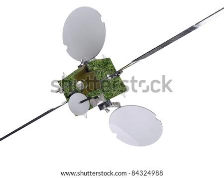 green satellite isolated on white background - stock photo
