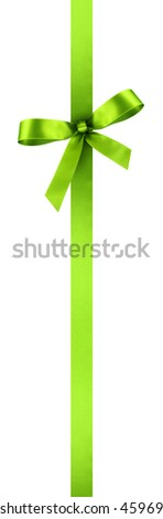 Green Satin Gift Ribbon with Decorative Bow - Vertical Banner Illustration Isolated on White Background - stock photo
