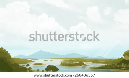 Green savanna with river and mountains. Relaxing landscape painting. Digital background raster illustration. - stock photo