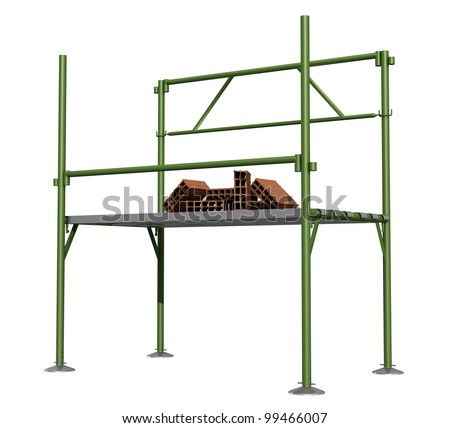 Green scaffold  with bricks  isolated on white - stock photo