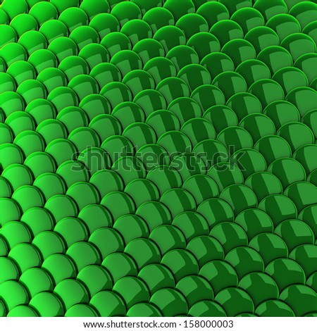 Green scales background 3d - stock photo