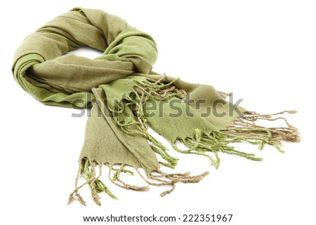 Green scarf with tassels, isolated on white background. - stock photo