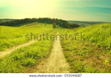 Green scenery mountains landscape with forest and road. Vintage look - stock photo