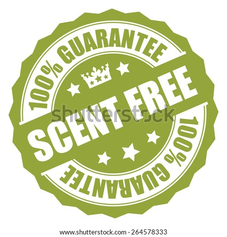 Green Scent Free 100% Guarantee Badge, Banner, Sign, Tag, Label, Sticker or Icon Isolated on White Background - stock photo