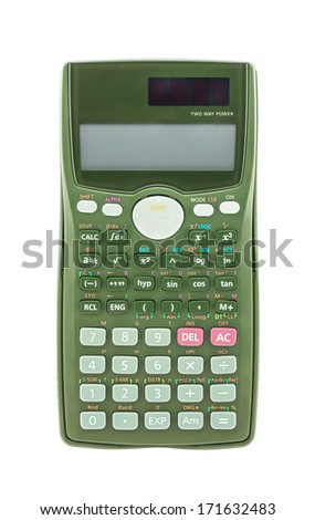 Green scientific calculator isolated on white background - stock photo