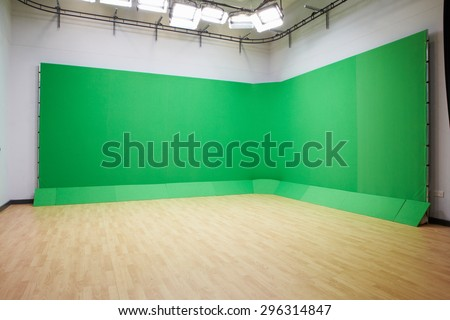 Green Screen In Empty TV Studio - stock photo