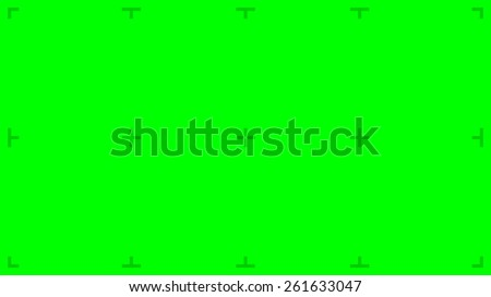 Green Screen with position markers for compositing, 8K FUHD 16:9 original size - anchors are Green value over 200 for easy removal - stock photo