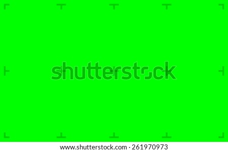 Green Screen with position markers for compositing, 16:10 8K original size - anchors are Green value over 200 for easy removal - stock photo