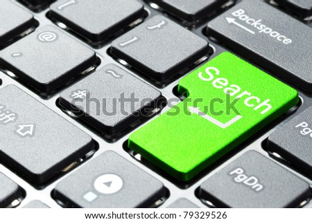 Green search button on the keyboard - stock photo