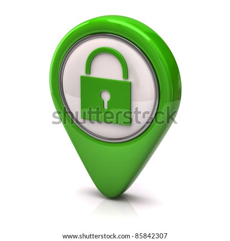 Green security icon - stock photo