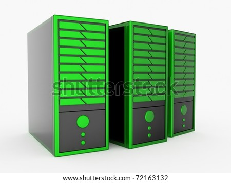 Green servers - stock photo