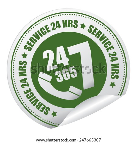 Green 24 7 365 Service 24 HRS or 24 Hours A Day, 7 Days A Week, 365 Days A Year Call Center Service Sticker, Icon or Label Isolated on White Background - stock photo