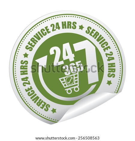 Green 24 7 365 Service 24 HRS Shopping Center or E-Commerce Service Sticker, Icon or Label Isolated on White Background  - stock photo