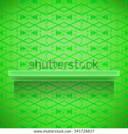 Green Shelf on Ornamental Green Lines Background - stock photo