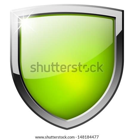 green shield button - stock photo