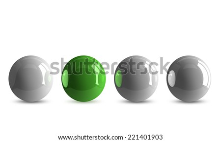 Green shiny ball in row of white ones isolated on white - stock photo