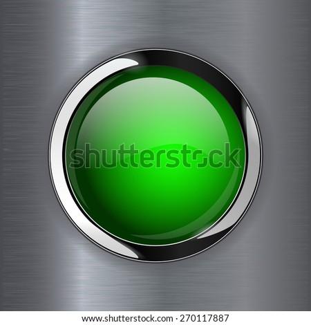 Green shiny button on metal background, web icon with metallic frame. Raster version - stock photo