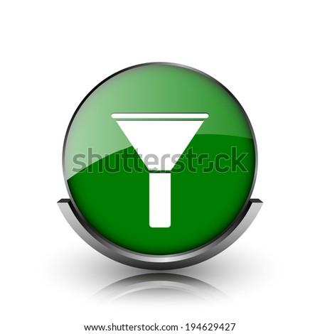 Green shiny glossy icon on white background - stock photo