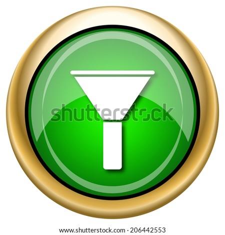 Green shiny glossy icon on white background. - stock photo