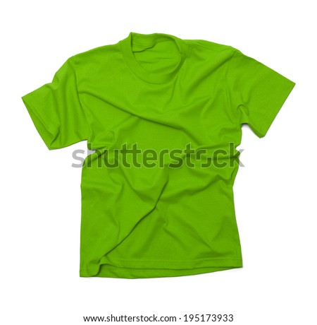 Green Shirt with Wrinkles Isolated on White Background. - stock photo