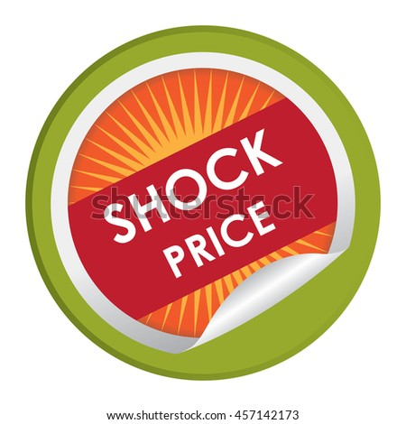 Green Shock Price Special Promotion Campaign Infographics Icon on Circle Peeling Sticker Isolated on White Background  - stock photo