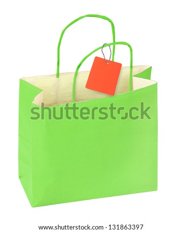 green shopping bag and blank price tag isolated on white background - stock photo