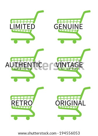 Green Shopping Cart Icons with Vintage Texts - stock photo