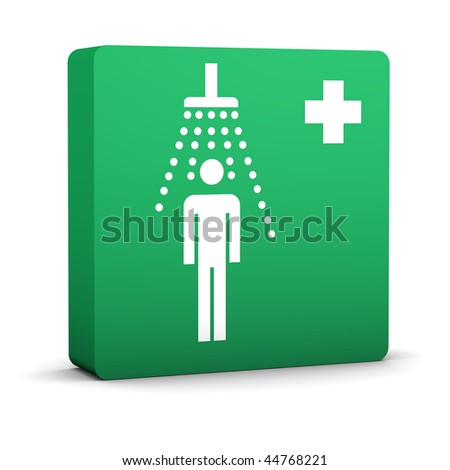 Green shower sign on a white background. Part of a series. - stock photo