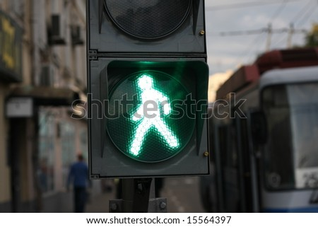 green signal on traffic light - stock photo