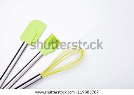 Green silicone cooking Utensils - stock photo