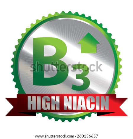 Green Silver High Niacin B3 Vitamin Ribbon, Badge, Icon, Sticker, Banner, Tag, Sign or Label Isolated on White Background - stock photo