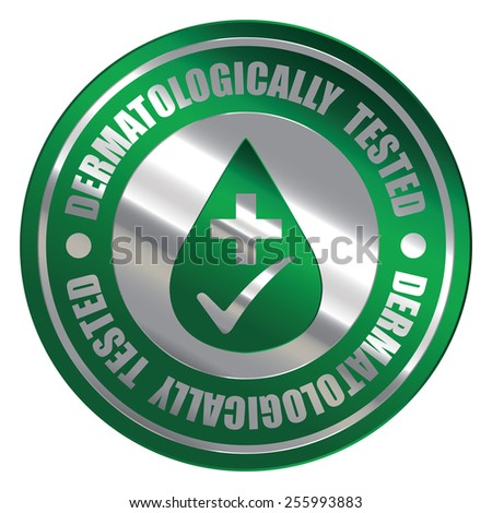 Green Silver Metallic Circle Dermatologically Tested Icon, Label, Banner, Tag or Sticker Isolated on White Background  - stock photo