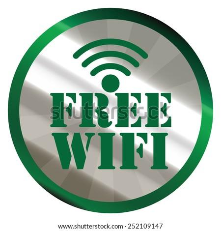 green silver metallic circle free wifi sticker, icon, label isolated on white - stock photo