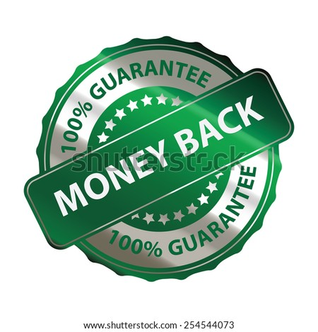 green silver metallic money back 100% guarantee sticker, banner, sign, icon, label isolated on white - stock photo