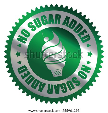 Green Silver Metallic No Sugar Added Ice Cream Badge, Icon, Label, Banner, Tag or Sticker Isolated on White Background  - stock photo