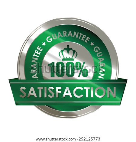 green silver metallic 100% satisfaction guarantee medal, sticker, sign, badge, icon, label isolated on white - stock photo