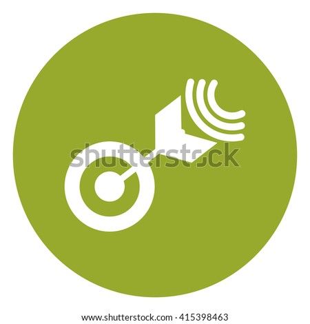 Green Simple Circle Dart With Target, Target, Mission Infographics Flat Icon, Sign Isolated on White Background - stock photo