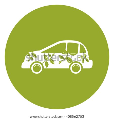 Green Simple Circle Eco Car Infographics Flat Icon, Sign Isolated on White Background - stock photo